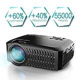 Vidéoprojecteur, projecteur ABOX A2 3000 lumens, 1080P Full HD, contraste 3000: 1, taille de l'écran 67-170 pouces, prise en charge HDMI, USB, carte SD, VGA, AV, téléphone portable, ordinateur portable, adapté à la maison et à l'extérieur Utiliser