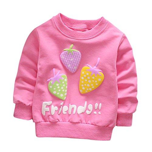 che Print T-Shirt Kleinkind Kind, DoraMe Baby Jungen Mädchen Lange ärmel Pullover Warme Bluse O-Ausschnitt Sweatshirt für 0-3 Jahr (A-Rose Rot, 12 Monate) (Rote Bodys Halloween)