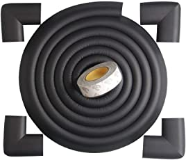 BabyLab Black Baby Safety Furniture Corner Guards| Safe Edge & Corner Cushion | Child Safety Furniture Bumper | Table Protectors | Pre-Taped Corners |