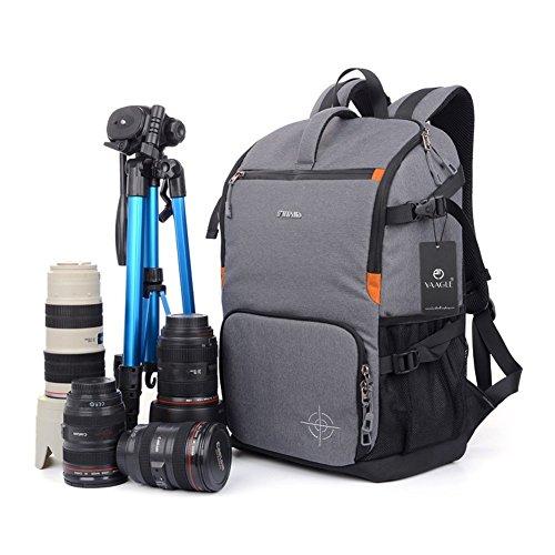 Olympus Gadget Bag (Goin Large Capacity Multifunktions-wasserdichte Anti-Schock SLR / DSLR Gadget-Kameratasche Professionelle Gear Fotografie Reise-Rucksack Rucksack mit Stativ-Armband und extra Regen-Abdeckung für Canon Nikon Sony Nikon Olympus Samsung (grau))