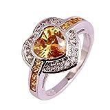Sixlus Monili del partito di modo dell'anello d'argento dell'anello della pietra preziosa del taglio del cuore e della morganite