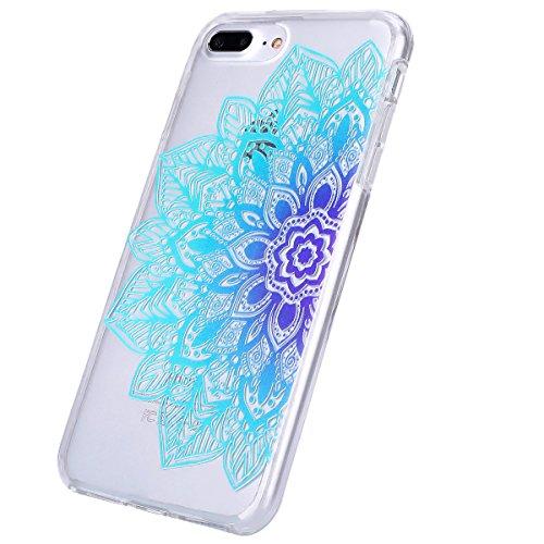 iPhone 7 Plus Hülle Case,iPhone 7 Plus Schutzhülle Bumper,Ekakashop Modisch Durchsichtig Ultra dünn Slim 2 in 1 Transparent Delphine Schwimmen Muster Weiche TPU + PC Silikon Crystal Klar Flexible Gel  Halb blauen Blüten