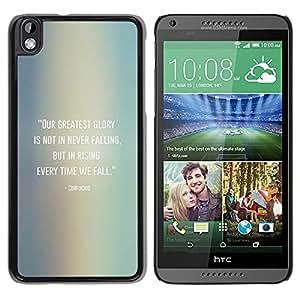BLOKK CASE / HTC DESIRE 816 / Konfuzius-Zitat fallen aufstehen / Schlank Case Cover Schwarz Kunststoff Case Cover Shell Rüstung Hülle