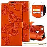 Herbests Leder Handy Schutzhülle für Huawei P10 Lite Lederhülle Schmetterling Muster Leder Handyhülle Handytasche Brieftasche Ledertasche Bookstyle Flip Case Cover Klapphülle,Orange