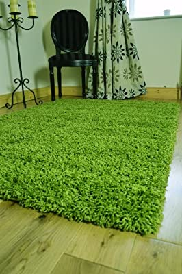 *5 Sizes* Small - Xx Large Thick Plain Green Soft Shaggy Pile Rug Bedroom Hall Living Room Carpet Mat - cheap UK light shop.