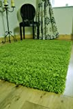 *5 SIZES* SMALL - XX LARGE THICK PLAIN GREEN SOFT SHAGGY PILE RUG BEDROOM HALL LIVING ROOM CARPET MAT (80 X 150 CMS)
