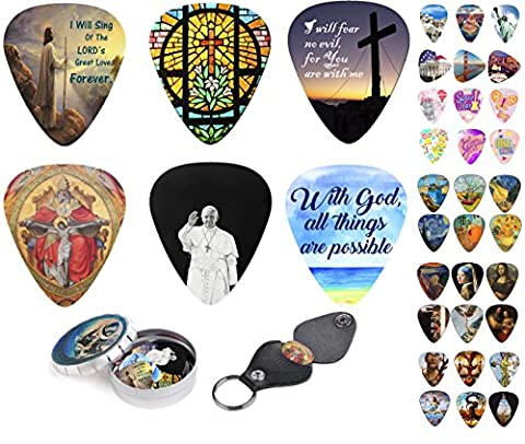 Christian Guitar Picks Premium Gift -12 Medium celluloid plectrum Include Pick Holder & Tin Box. W/ Bible Inspired Prints & Meaningful Messages Worship The Lord Cool Gift For Pastor Or Church Friends.