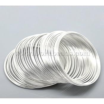 50 Circles. Wire: 0.6mm Steel Bracelet Memory Wire 5.5cm Nickel Color