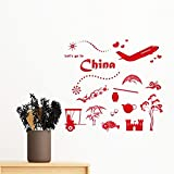 DIYthinker Let's Go To China Bamboo Lantern Peacock Plane Teapot Tree Removable Wall Sticker Art Decals Mural Diy Wallpaper For Room Decal 30Cm