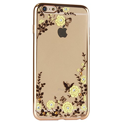 iPhone 7 Hülle,iPhone 7 Silikon Hülle Tasche Handyhülle,SainCat Flamingos Muster Ultra dünne Silikon Hülle Schutzhülle Durchsichtig Hadytasche Stoßfeste TPU Gel Case Bumper Weiche Crystal Kirstall Sil Gold-Gelbe Blumen