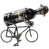 Flaschenhalter / Flaschenständer - ' Fahrrad / Radfahrer ' - aus Metall - incl. Name - ideal für Wein, Sekt, Bier u.v.m. - Fahrradfahrer Biker - Rennrad - Weinflaschenhalter / Metallständer - Weine Flasche Wein Deko Figur - Weinhalter als Skulptur / Schraubenfigur Schraubenmännchen - Flaschen Bierhalter - Bierständer