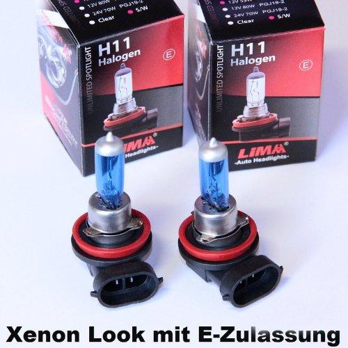Preisvergleich Produktbild 2 x LIMA H11 Xenon Look 12V 55W Halogen Lampe super weiss