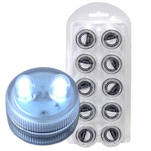 HQRP 10 impermeables de dual LED Velas de té sumergibles blanco 6000K sin llama sin calor para el banquete de boda / eventos / fiestas / floral decoración / proyectos de arte / espectáculo de luces