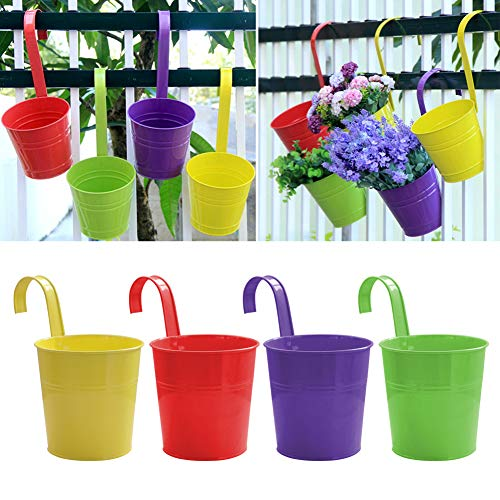 AnkamalElec Metall-Blumentöpfe Hängetöpfe Blumentopf mit Ablauflochfür Blumen BalkonZaun Gartenzaun 4 Stück
