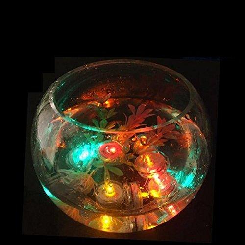 MuLucky 12pcs impermeables batería ronda accionados muchos colores de flores de mini luces LED velas bajo el agua para los floreros de la pieza central de la decoración del banquete de boda (Morado)