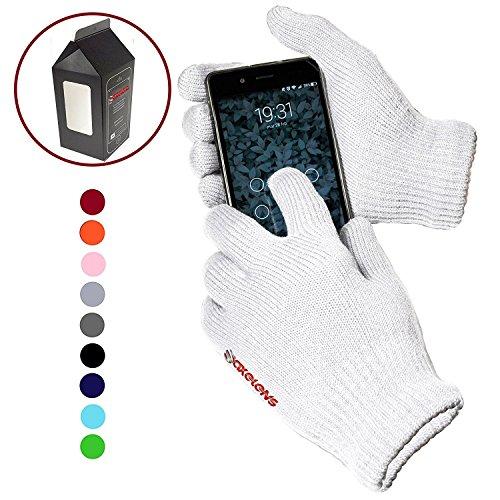 AXELENS TOUCHSCREEN HANDSCHUHE für Smartphones und für kapazitive Displays - UNIVERSAL - UNISEX weich und warm für den Winter - Geschenkbox enthalten! - weiß (Handschuh Unisex Stricken)