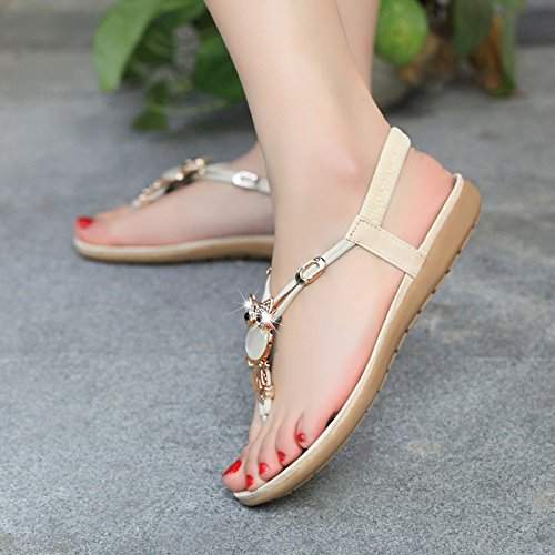 sandali piatto sandali two da nine Beige Thirty versione coreana trapano water gtvernh estate donna a fondo Forty scarpe HI0wnF