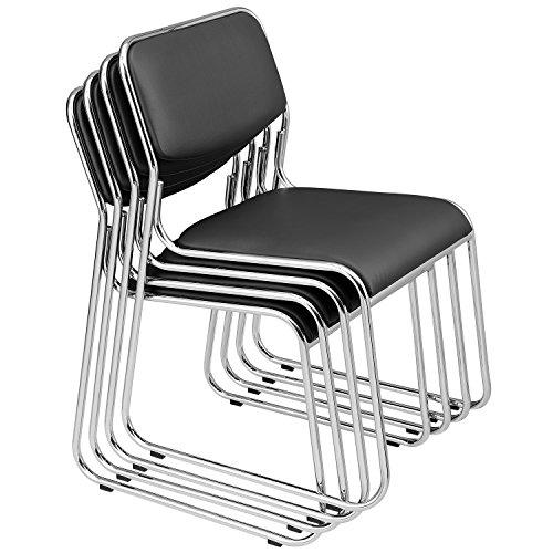 [pro.tec] 4x Sedie per visitatore(nero - imbottite)(in un set di risparmio) sedia di conferenza/sedia / sedia d´ufficio/sedia / sala d´attesa - sedia