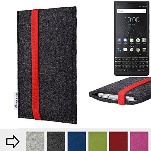 Handy Hülle COIMBRA mit Gummiband-Verschluss für Blackberry KEY2 (Dual-SIM) - Schutz Case Smartphone Etui Filz Made in Germany in anthrazit rot - passgenaue Handytasche für Blackberry KEY2 (Du