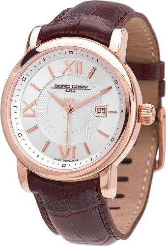 Jorg Gray Men's Quartz Watch with Silver Dial Analogue Display and Brown Leather Strap JG7200-23