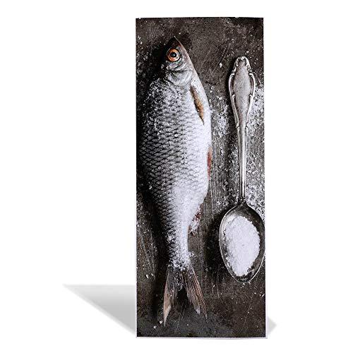 banjado Design Magnettafel 75x30cm groß   Memoboard mit Magneten   Metall Pinnwand magnetisch   Magnetboard mit Motiv Fisch Und Salz   Magnetwand für Küche, Büro oder Kinderzimmer (Fisch Salz)