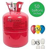 Thequeenwigs Bouteille d'Hélium 0.42m3 (99.99% d'Helium) (Marque Française) + 50 Ballons + Bolduc