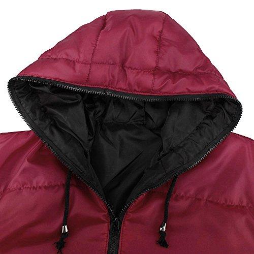 Herrenmantel Internet Schlanken lässige warme Jacke mit Kapuze Winter dicken Mantel Rot