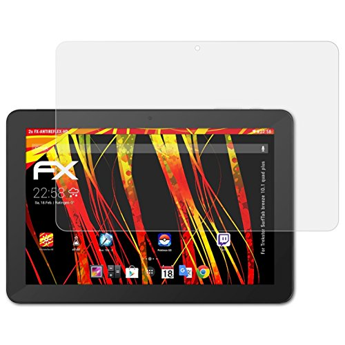 atFolix Schutzfolie kompatibel mit Trekstor SurfTab Breeze 10.1 Quad Plus Bildschirmschutzfolie, HD-Entspiegelung FX Folie (2X)