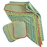 Muxel Eccogreen Bambustuch Set mit 3 Trocken und 3 Vorreinigungs-Bambus-Tücher