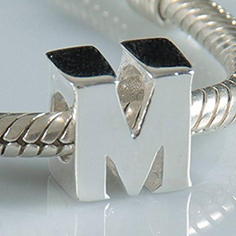 Argent sterling 925authentique Perles lettres de l'alphabet A-Z Lettre Initiale Compatible avec bijoux pour bracelet européen m