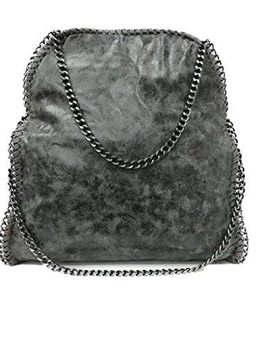 Stella Metallic Tote (Limited Colors Handtasche VIVIEN Lederlook Damen Schwarz Grau Rosa Jeans Shopper Beuteltasche mit Kette (Grau Glitzer))