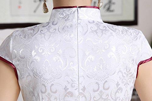 Luck Femme Robe Chinois Bouton Chinois Brodé de Fleurs en Coton Blanc Blanc
