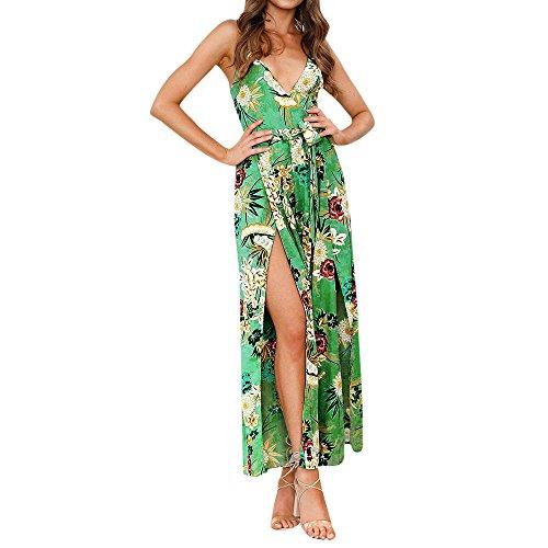 Yvelands Sommerkleider Damen Maxi Kleid Off Shoulder Abendkleid Strandkleid Party Schulter Kleider Schulterfrei Strand Spielanzug Boho (M, Grün1) -