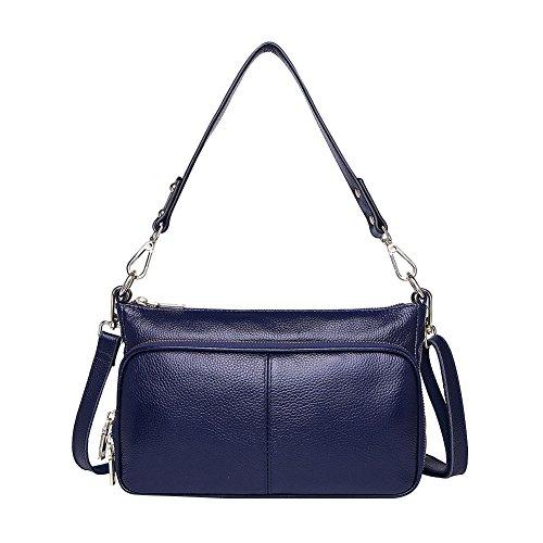 Mena Uk Frauen beiläufige Art und Weise Leder-Handtaschen-mehrfache Räume Kurier-Schulter-Beutel Royal Blue