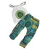 Vibola Baby Girls folk-custom T-shirt Tops+Pants Summer Beach Outfits Clothes Set (Size:4/5T, Green)
