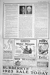 LA VENDITA 1923 DI BURBERRY SI INVERDISCE I CENTENARI DELLE PENNE CUTICURA DI PERRY DELLE MOTOFALCIATRICI CIRCA