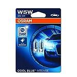 OSRAM Cool Blue Intense W5W, Halogen-Signallampe, Nummernschildbeleuchtung, Xenon-Look, 2825HCBI-02B, Doppelblister (2 Lampen)