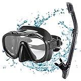 Kuyou Premium Schnorchelset Erwachsene Taucherbrille mit Schnorchel Tauchset gehärtete Anti-Beschlag Gläser Taucherbrille wasserdichte Tauchmaske und trockenem Schnorchel Set (Schwarz)