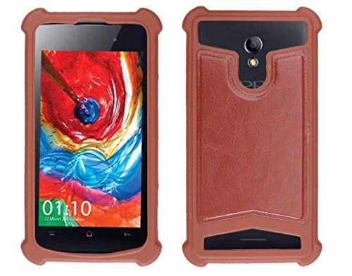 Shopme Shock proof,Silicon,Premium PU Leather Back cover for iBall Andi 4D (Brown Color) (Special Anti Shock Bumpers on all four sides , 360 degress Protection, Access to all Ports)  available at amazon for Rs.199