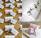 Absofine 100 Stk. Weiß Süßigkeiten Karton Hochzeit Gastgeschenke Geschenkboxen 7x9cm mit Juteschnur 60M für Süßigkeiten Schmuck Einladung Geschenk Party Fest - 6