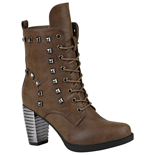 Damen Schnürstiefeletten Gefütterte Winterstiefel Worker Boots Profilsohle Schnürer Winterboots Blockabsatz Schuhe Stiefeletten High Heels Flandell Khaki Nieten