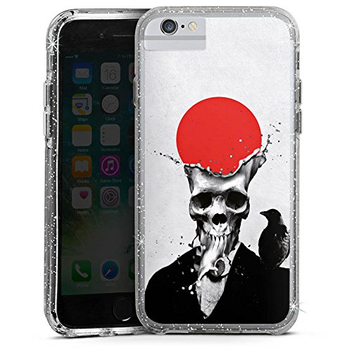 Apple iPhone 7 Bumper Hülle Bumper Case Glitzer Hülle Schädel Totenkopf Skull Bumper Case Glitzer silber