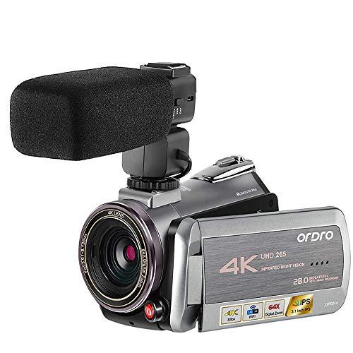 Videocamera 4K ORDRO AZ50 Real 4K Videocamera 30FPS Visore Notturno H.265 Supporto Microfono Stereo