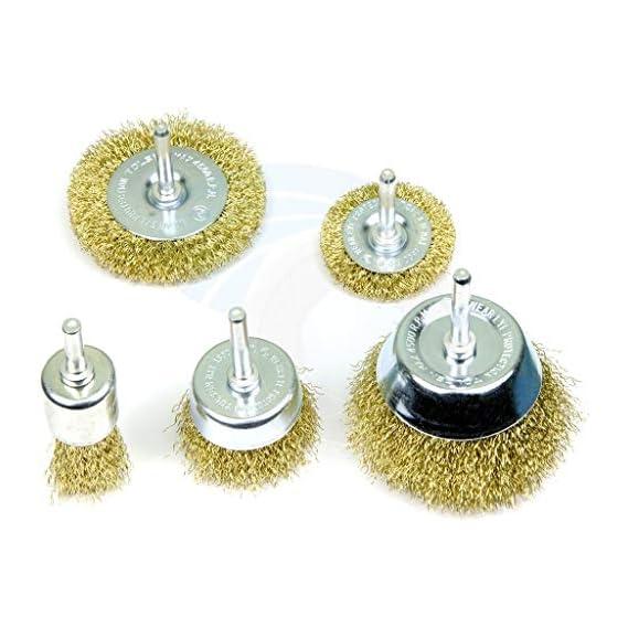 Inditrust Wire Brass Brush Multipurpose Set to Remove Paint, Dust, Dirt, Medium (Golden) - Set of 5