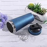 Protein-Shaker-Flasche mit Mixer, Dual-Layer-304 Edelstahl, 739ml / 26oz, 7 Farben, BPA-frei, Lebensmittelqualität PP, mit Scale Inside - Whey Protein Shaker (Blau)