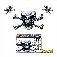 Chrome Skull N X Bones Scary Halloween Pirate Joke Vinyl Car Sticker Decal Pack For Laptop, Caravans, Trucks, Boats ST00037CH-1 - JAS Stickers