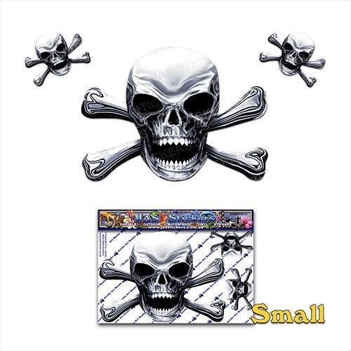 Chrom-Look Schädel N X Bones Scary Halloween Piraten Witz Vinyl Auto Aufkleber Aufkleber Pack für Laptop, Wohnwagen, Lkw, Boote ST00037CH-1 - JAS Aufkleber