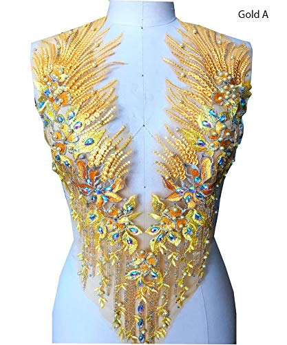Spitzenapplikation 3D Perlen bestickt Blumen Strass Trim Patches Ideal für DIY Ausschnitt Mieder Hochzeit Braut Bälle Kleid A2AB A gold