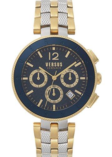 Versus Logo montre homme chronographe IP Doré Cadran bleu avec bracelet en acier inoxydable Sp762518