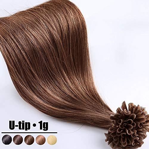 Extension capelli veri cheratina ciocche 1 grammo/ciocca pre bonded u tip allungamento 100% remy human hair - 60cm 50g #4 marrone cioccolato
